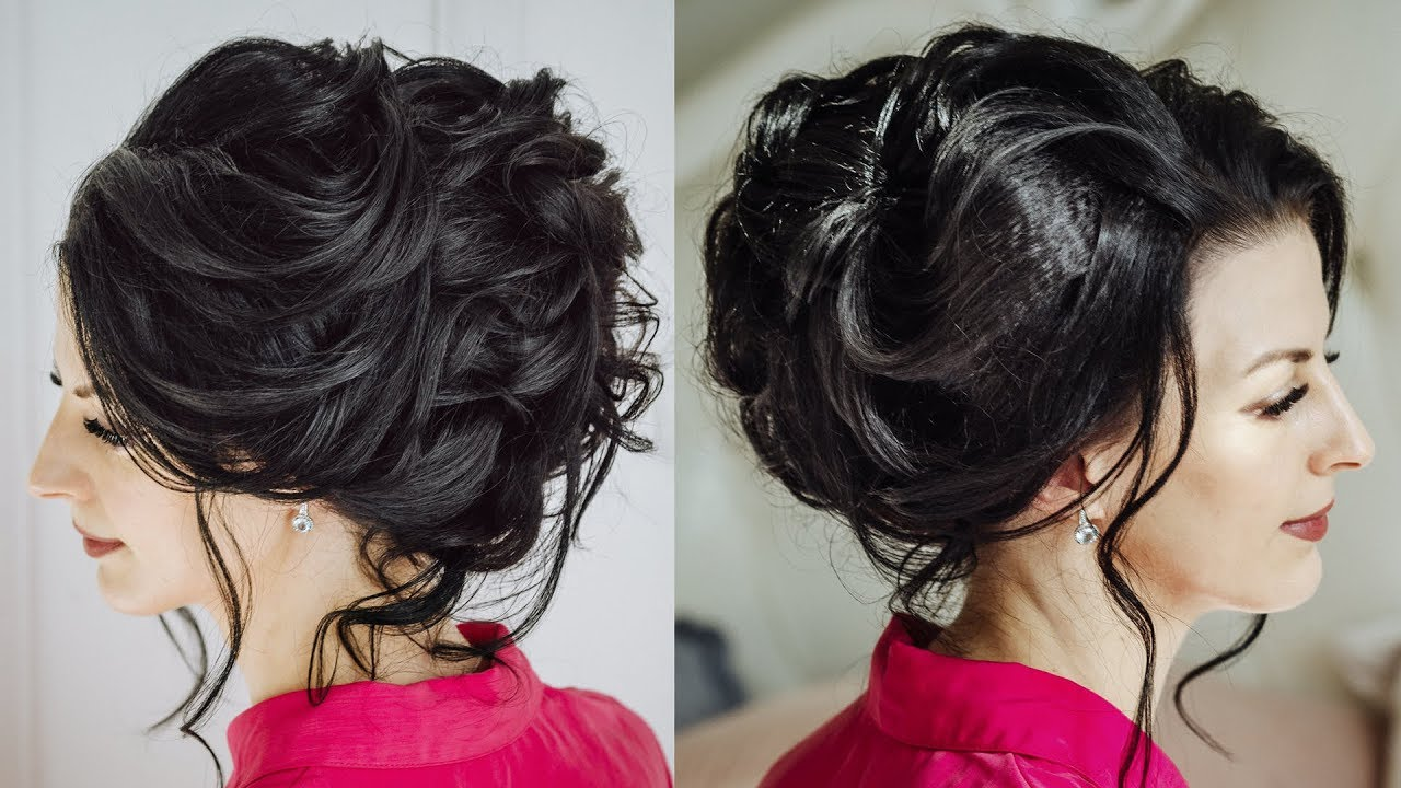 Elegant Curled Updo For Long Dark Hair Youtube