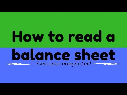 Stock Market for beginners -  How to read a balance sheet