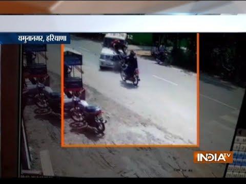 Watch: SUV rams into two bikes in Haryana's Yamunanagar