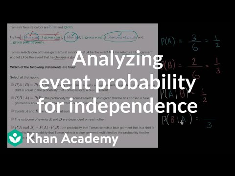 Analyzing event probability for independence | Probability and Statistics | Khan Academy
