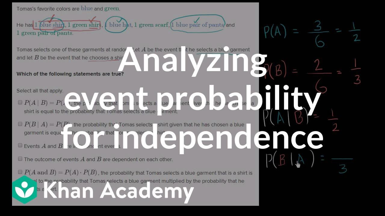 Analyzing Event Probability For Independence Probability And Statistics Khan Academy