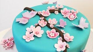 Cherry Blossom Decorated Chocolate Cake - Cheeky Crumbs