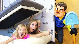 Hide and seek Hello Neighbor in Real Life Play With Children at Home