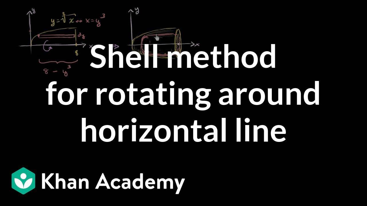 Shell method for rotating around horizontal line (video) | Khan Academy