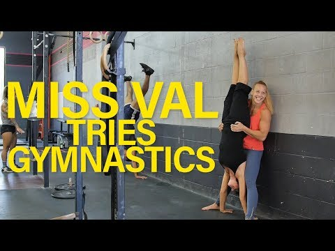 Miss Val Tries Gymnastics, First Handstand EVER!