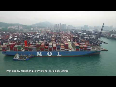 The largest container ship in service sailed into the Port of Hong Kong!