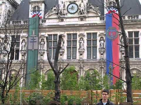 Landmarks in Paris - Hotel de Ville and Pompidou Centre