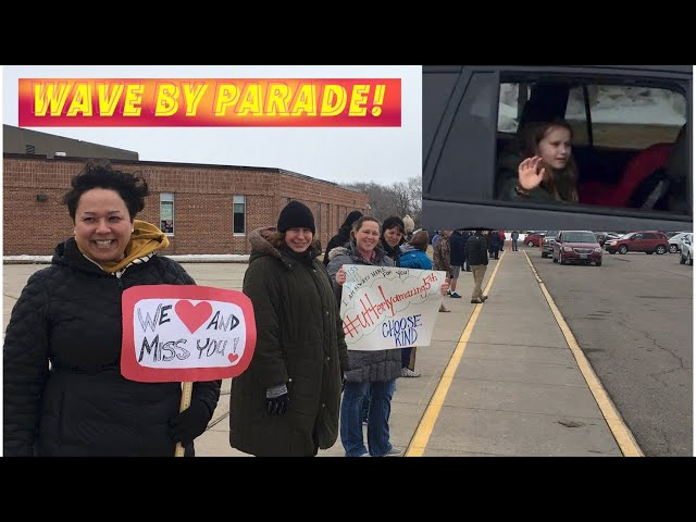 COVID-19 Wave By School Parade In Crookston, Minnesota For Students Stuck At Home