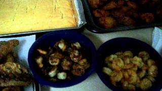 On The Menu: Fish, Corn Bread, Shrimp, Banana Fritters