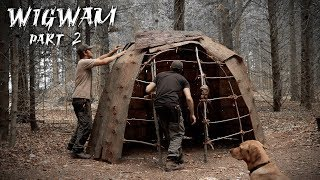 Building a Dome Hut with Bark Roof | Bushcraft Wigwam Shelter (PART 2)