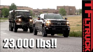 Will a 2016 Chevy Silverado HD Pull a 23,000 lbs Military 6X6 M925a2 Up Hill in the Rain?