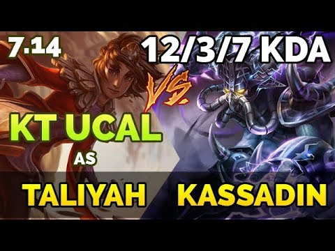 KOREAN RANK 1 (1,243 LP) | KT Ucal as Taliyah vs Kassadin Mid | Patch 7.14
