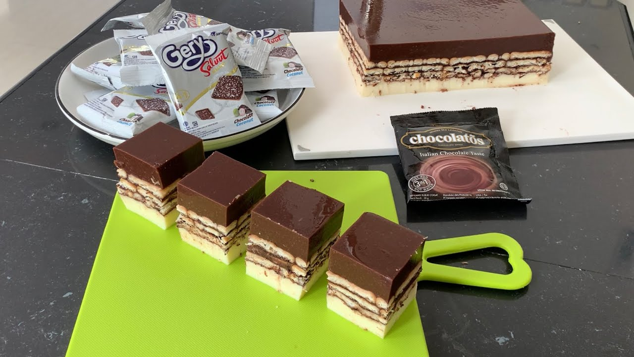 Puding Biskuit Lapis Philippines Puding Chocolatos Susu Pakai Gery Saluut Malkist Coklat Kelapa Youtube