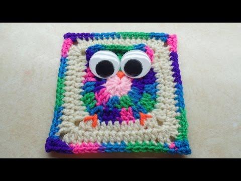 CROCHET How to #Crochet Easy Owl Granny Square #TUTORIAL #243 LEARN CROCHET