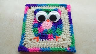 CROCHET How to #Crochet Easy Owl Granny Square #TUTORIAL #243 LEARN CROCHET DYI