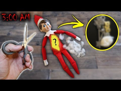 CUTTING OPEN AN ELF ON THE SHELF AT 3 AM!! *WHAT IS INSIDE SANTAS DOLL*