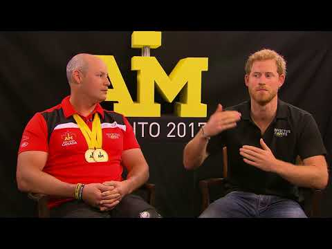 Canadian Broadcaster Brian Williams interviews Prince Harry and Canadian competitor Mike Trauner
