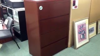 Cherry 36 W Four Drawer Lateral File Cabinet - Lorell - 20 LEFT