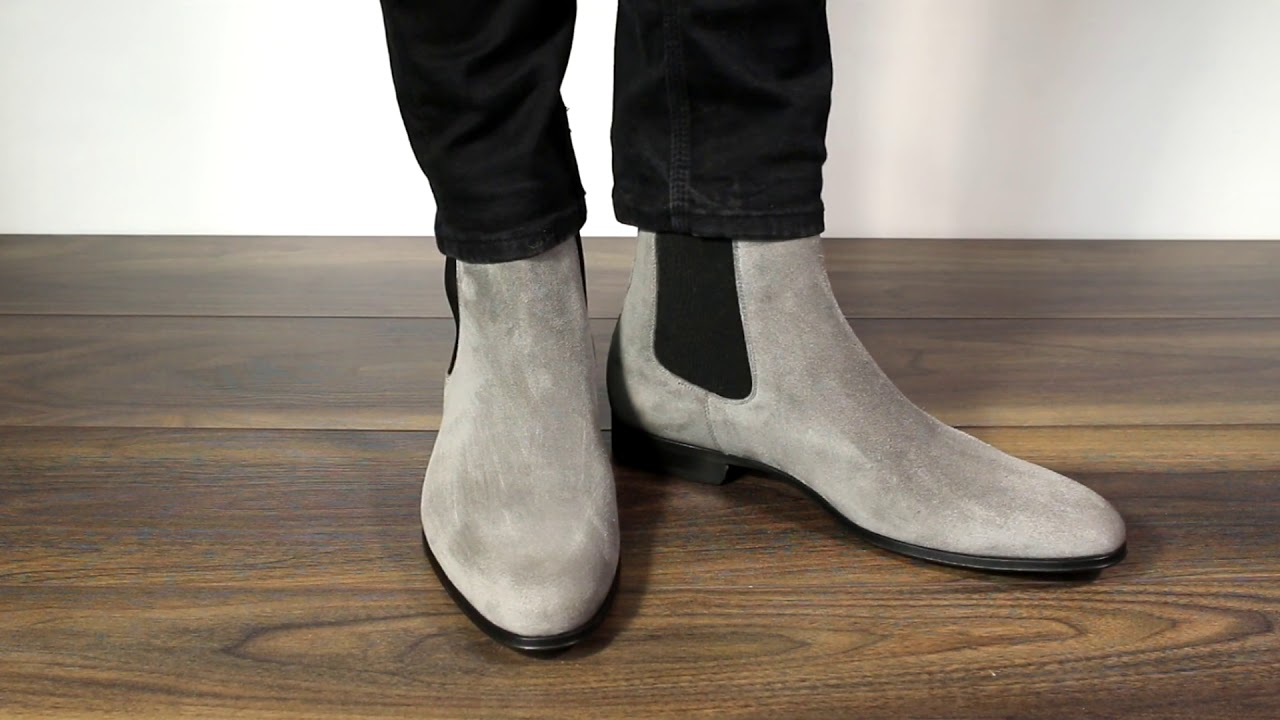 Grey Suede Chelsea Boots | Italian made