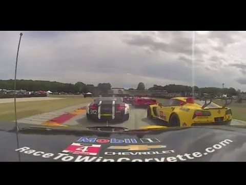 IMSA 2016 Weathertech Championship Road America race start  Corvette Racing #4 Onboard