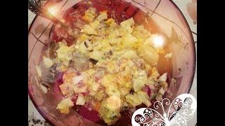 Яично-грибной салат просто быстро и вкусно!Истории похудения.