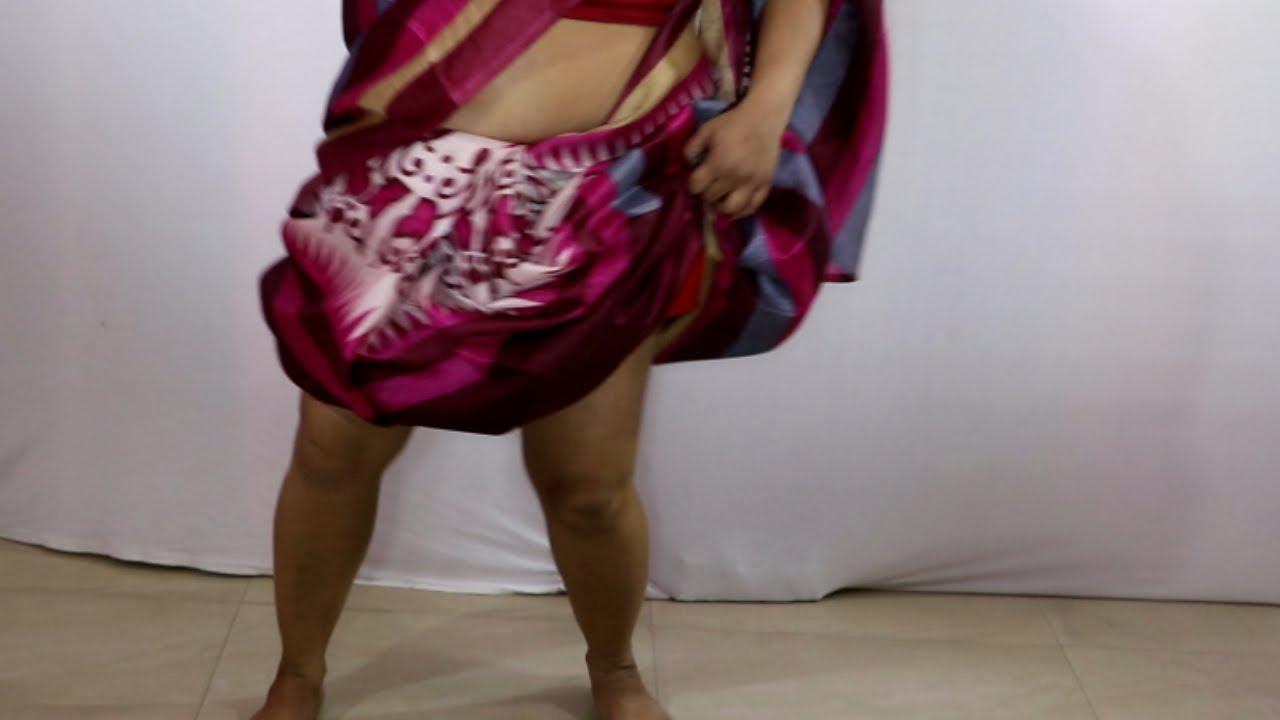 Download Simple saree draping video tutorial for fat ladies | Lungi Dance saree