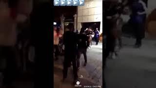 collectif ULTRA PARIS protègent la boutique du PSG pendant les célébrations aux Champs Elysées