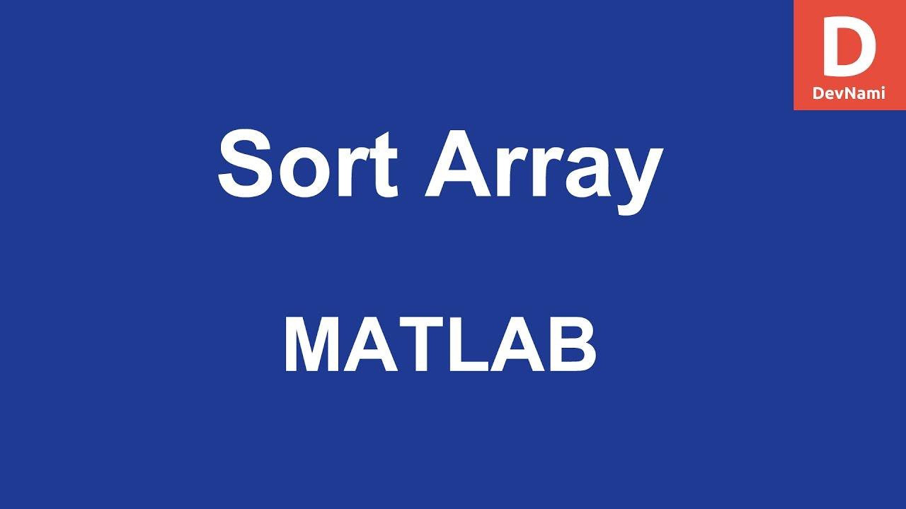 MATLAB Sort Reshape Shift Array