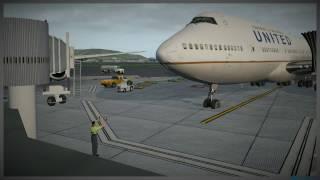 XPlane 11 - Multi-view Default United 747-400 @ KSFO  by James Waters