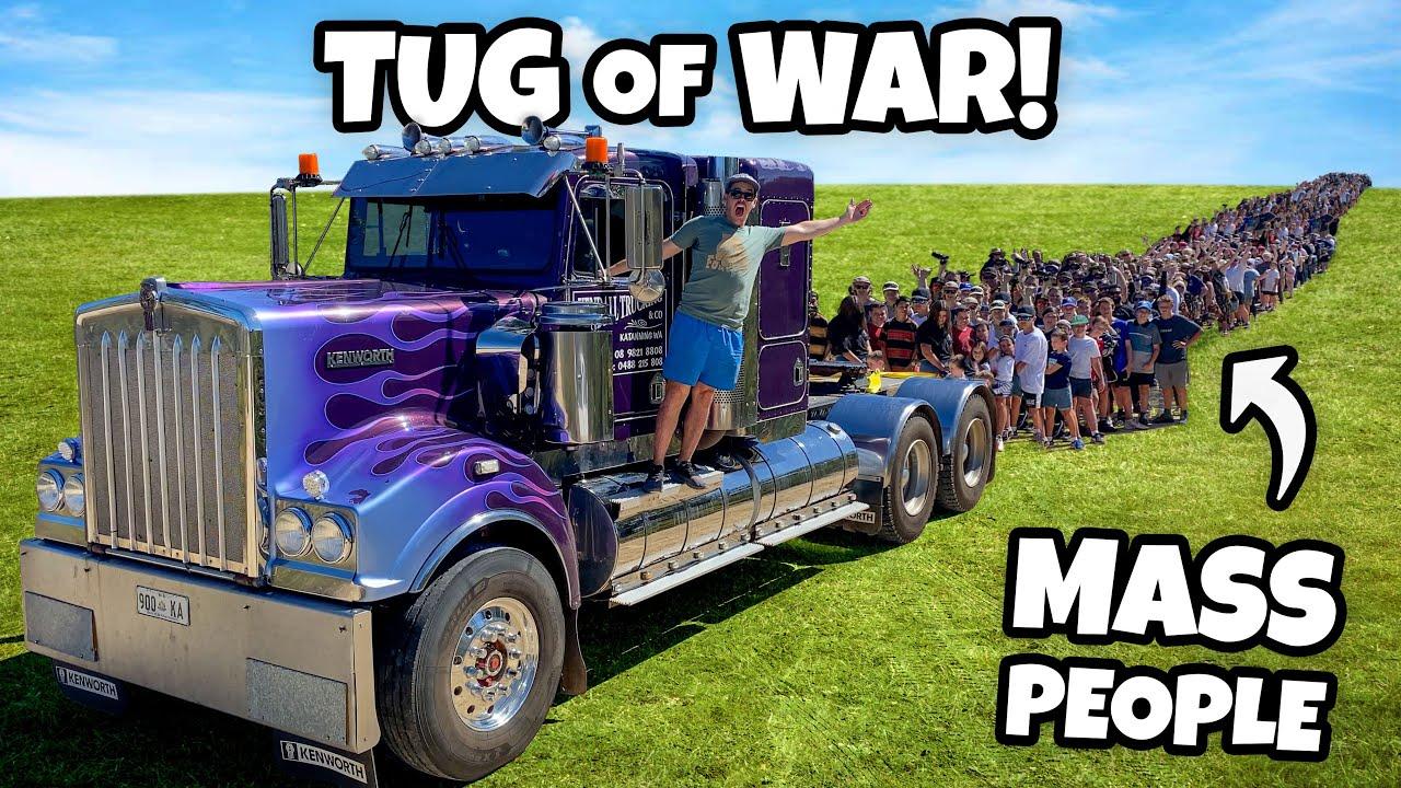 TUG OF WAR Semi Truck Vs. Mass People!