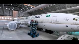 كواليس إعادة طلاء طائرة اليوم الوطني  🇸🇦✈️✨