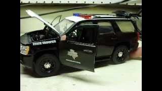 Custom 1:24 scale TEXAS HIGHWAY PATROL STATE POLICE  Tahoe w/ working lights