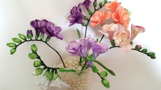 Ribbon flowers: freesia of satin ribbons/tutorial/Цветы из лент: Фрезия. МК