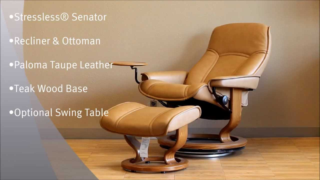 Stressless Senator Recliner Chair U0026 Ottoman | Paloma Taupe Leather | Teak  Base | Swing Table   YouTube