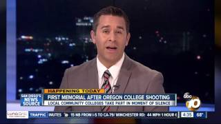 KGTV-SD: Moment of Silence at San Diego Community College District for Ore. Shooting Victims