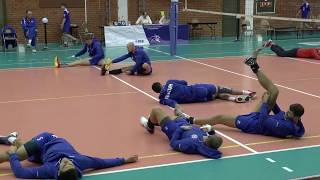 Волейбол. Разминка на полу