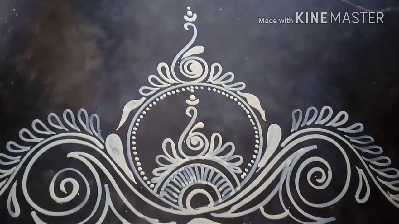 saraswati puja special alpona rangoli design mukesh arts door alpona youtube