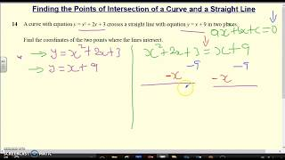 How to find the Points of Intersection of a Curve and a Straight Line. GCSE/IGCSE Maths