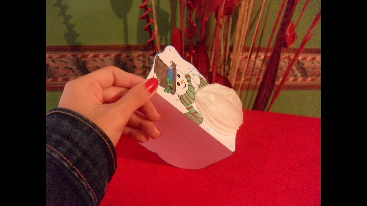 NAVIDAD||Tarjeta 3D Muñeco de nieve - YouTube
