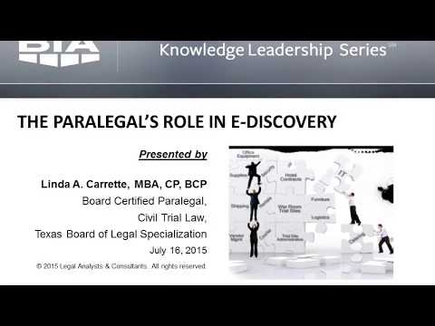 The Role of the Paralegal in eDiscovery