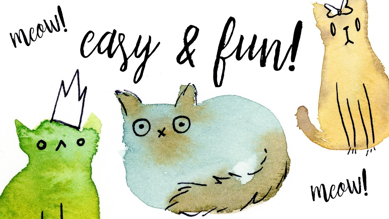 Painting Easy Fun Watercolor Cats With Washes Tutorial Illustration Ideas For Beginners