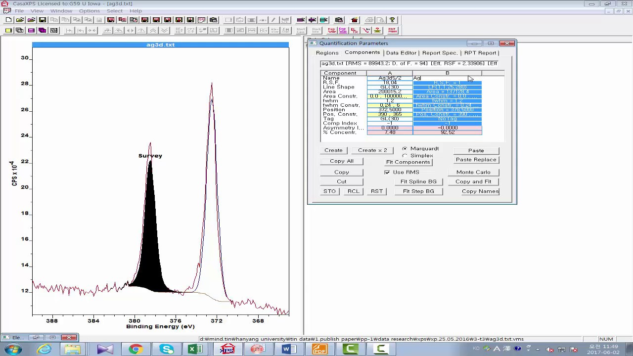 2372b1e9353 XPS peak fitting of silver peak (Ag3d) using casaXPS software - YouTube