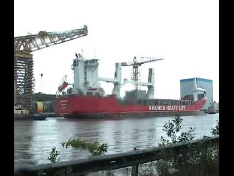 Hansa Heavy Lift Vessel HHL Macao arrives on the Tyne from Ijmuiden 23rd June 2013