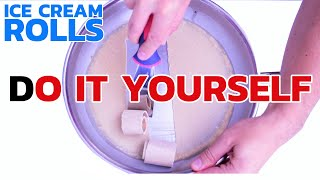 ICE CREAM ROLLS - DIY RECIPE  How to make Ice Cream Rolls at home - with kinder chocolate