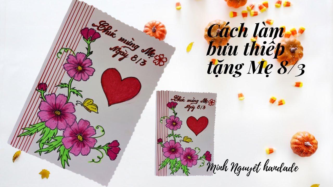 Diy handmade | Cách làm thiếp chúc mừng Mẹ và Cô 8/3, 20/10, 20/11 | Minh Nguyệt handmade.