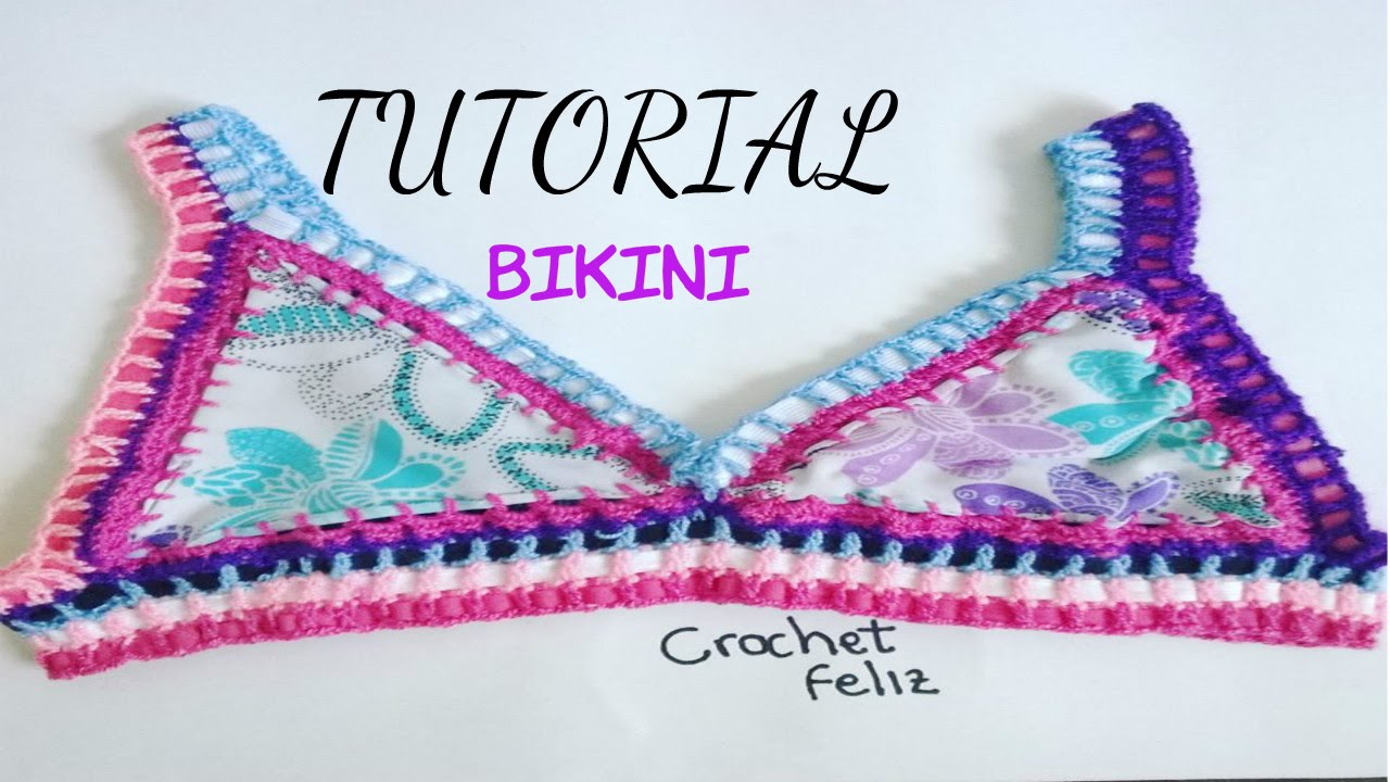C mo hacer un bikini a crochet con tela tutorial top - Fieltro al por mayor ...