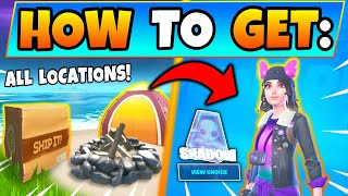Fortnite BOX FACTORY & SKYEs COASTAL CAMPSITES! Skyes Adventure Challenges Guide Battle Royale