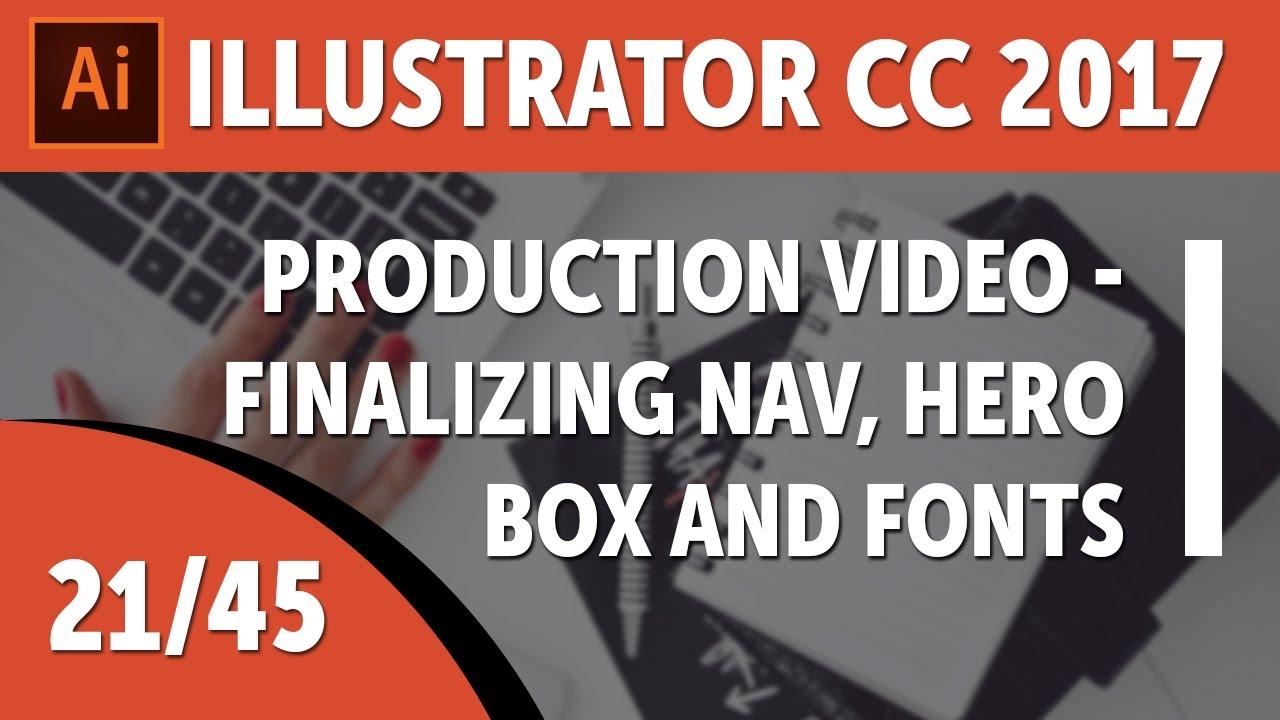 Production video - finalizing nav, hero box and fonts - Adobe Illustrator CC 2017 [21/45]