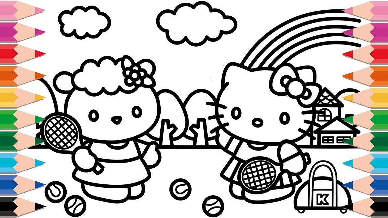 How To Draw Hello Kitty And Baa Black Sheep Friends Playing Tennis For Kids Coloring Pages