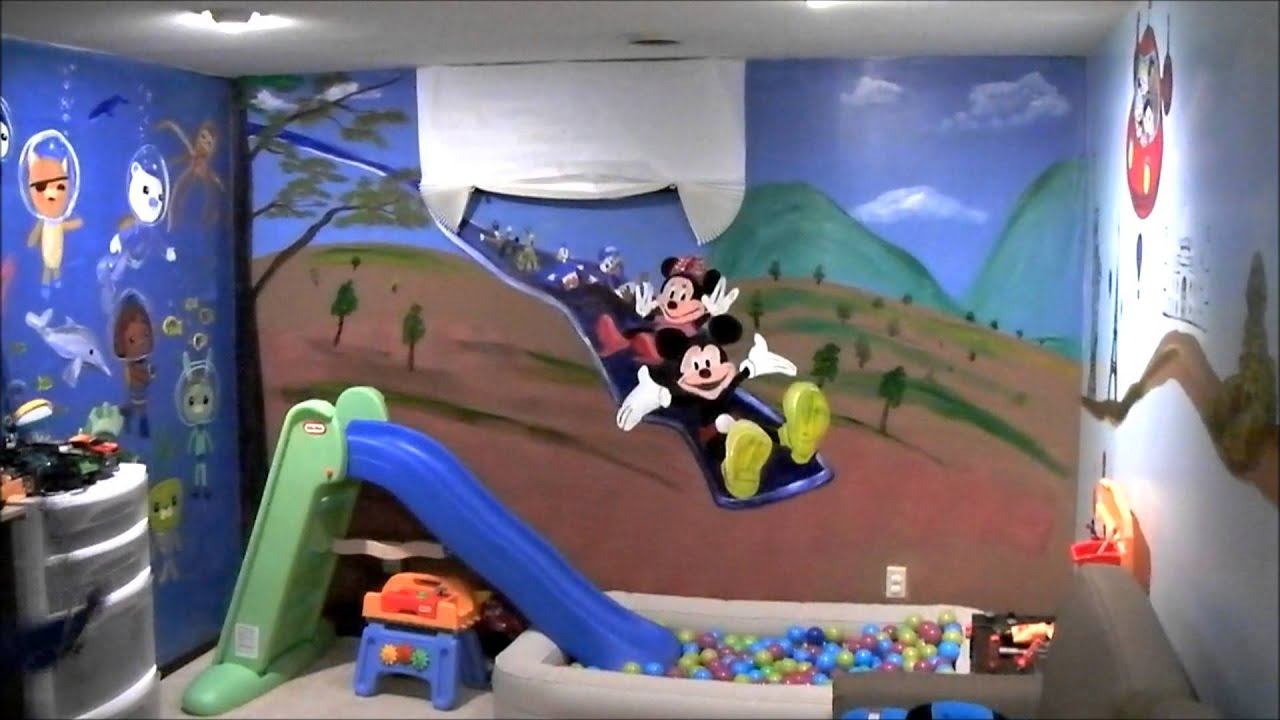 Kidu0027s Playroom Murals W/ Mickey Mouse   YouTube Part 80